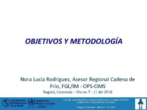 OBJETIVOS Y METODOLOGA Nora Luca Rodrguez Asesor Regional