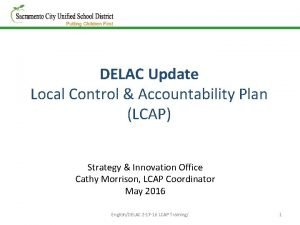 DELAC Update Local Control Accountability Plan LCAP Strategy
