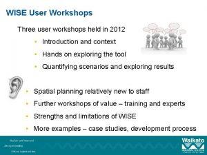 WISE User Workshops Three user workshops held in