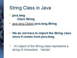 String Class in Java java lang Class String