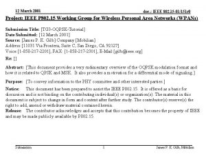 12 March 2001 doc IEEE 802 15 01151