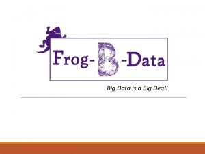 Big Data is a Big Deal Our Team
