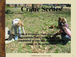 Crime Scenes Physical Evidence Any object that can