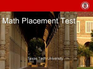 Math Placement Test Texas Tech University Psychology Majors
