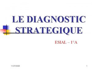 LE DIAGNOSTIC STRATEGIQUE ESIAL 1A 11272020 1 Introduction