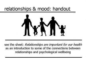 relationships mood handout see the sheet Relationships are