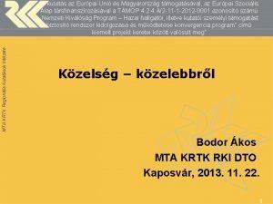 MTA KRTK Regionlis Kutatsok Intzete A kutats az