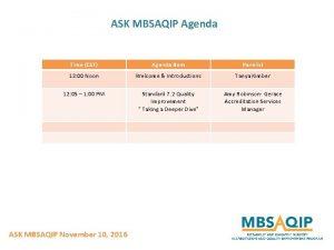 ASK MBSAQIP Agenda Time CST Agenda Item Panelist