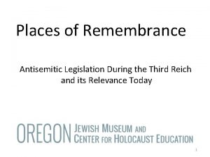 Places of Remembrance Antisemitic Legislation During the Third
