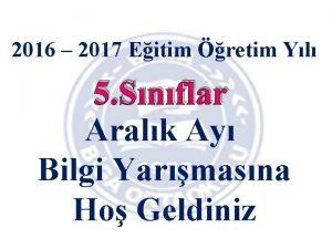 2016 2017 Eitim retim Yl 5 Snflar Aralk
