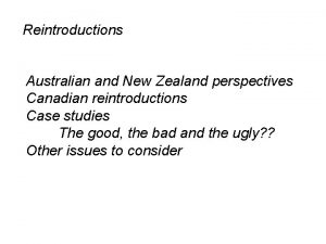 Reintroductions Australian and New Zealand perspectives Canadian reintroductions