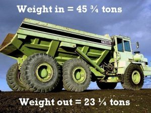 Weight in 45 tons Weight out 23 tons