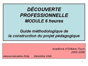 DCOUVERTE PROFESSIONNELLE MODULE 6 heures Guide mthodologique de