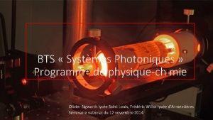 BTS Systmes Photoniques Programme de physiquechimie Olivier Sigwarth