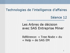 Technologies de lintelligence daffaires Sance 12 Les Arbres