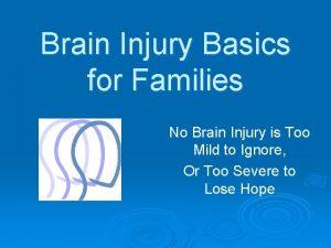 Brain Injury Basics for Families No Brain Injury