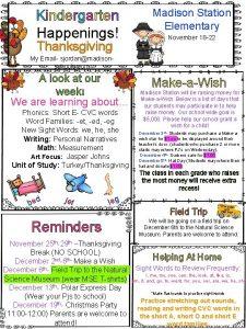 Kindergarten Happenings Thanksgiving Madison Station Elementary November 18