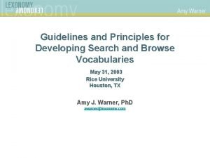 Guidelines and Principles for Developing Search and Browse