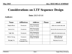 May 2015 doc IEEE 802 11 150584 r