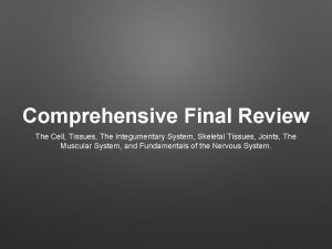 Comprehensive Final Review The Cell Tissues The Integumentary