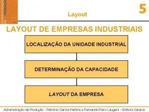 Layout 5 LAYOUT DE EMPRESAS INDUSTRIAIS LOCALIZAO DA
