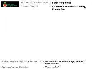 Proposed NU Business Name Sahin Polty Farm Business
