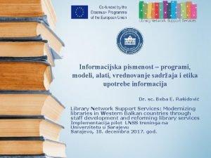 Informacijska pismenost programi modeli alati vrednovanje sadraja i