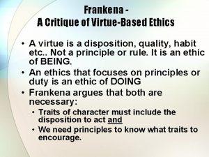 Frankena A Critique of VirtueBased Ethics A virtue