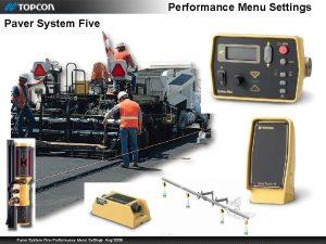 Performance Menu Settings Paver System FivePerformance Menu Settings