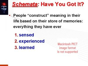 Schemata Have You Got It People construct meaning