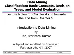 Data Mining Classification Basic Concepts Decision Trees and
