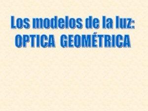 Modelos Luz como Rayos ptica geomtrica Ondas ptica