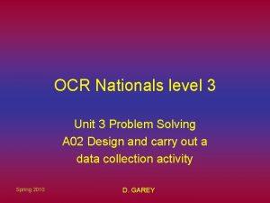 OCR Nationals level 3 Unit 3 Problem Solving