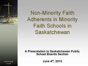 NonMinority Faith Adherents in Minority Faith Schools in