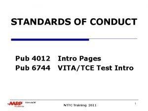 STANDARDS OF CONDUCT Pub 4012 Pub 6744 Intro