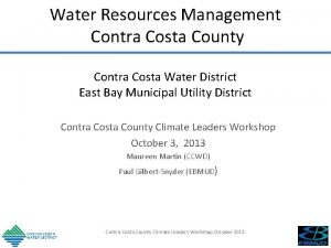 Water Resources Management Contra Costa County Contra Costa