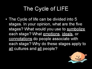 The Cycle of LIFE The Cycle of life