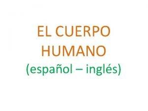 EL CUERPO HUMANO espaol ingls ESPAOL ENGLISH Cabeza