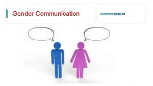 Gender Communication A Review Session What is gender