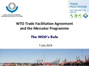 WTO Trade Facilitation Agreement and the Mercator Programme