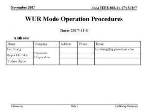 November 2017 doc IEEE 802 11 171302 r
