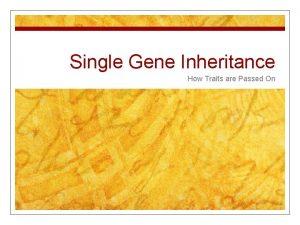 Single Gene Inheritance How Traits are Passed On