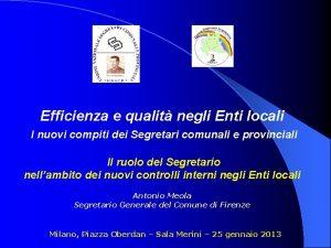 Efficienza e qualit negli Enti locali I nuovi