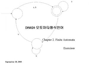 DS 020 Chapter 2 Finite Automata Exercises September