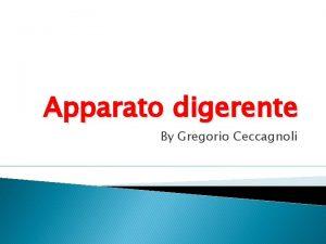 Apparato digerente By Gregorio Ceccagnoli Le funzioni dellapparato