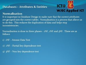 Databases Attributes Entities Normalisation ICT WJEC Applied ICT