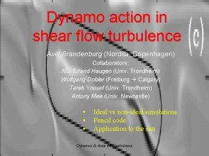 Dynamo action in shear flow turbulence Axel Brandenburg