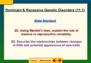 Dominant Recessive Genetic Disorders 11 1 State Standard