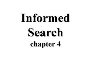 Informed Search chapter 4 Informed Methods Add DomainSpecific
