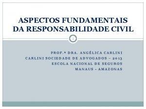 ASPECTOS FUNDAMENTAIS DA RESPONSABILIDADE CIVIL 1 PROF DRA